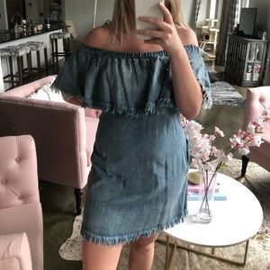 Umgee Dresses - Denim Off the Shoulder Dress